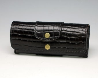 Hard leather eyeglass case -  Alligator embossed cowhide