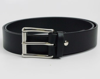 "1 1/4"" extra long Black American Bridle leather belt - 1 1/4 stainless steel buckle"