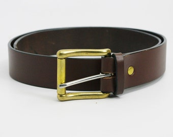 "1 1/4"" medium brown American Bridle leather belt - 1 1/4 solid brass roller buckle"