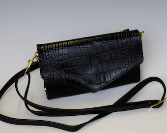 Wendy Clutch Purse - Black w/ black croco accent