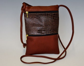 Passport Bag - medium brown w/ dark brown croco accent