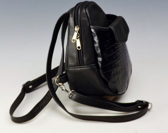 Peanut Purse Pack - Black w/ Black croco accent