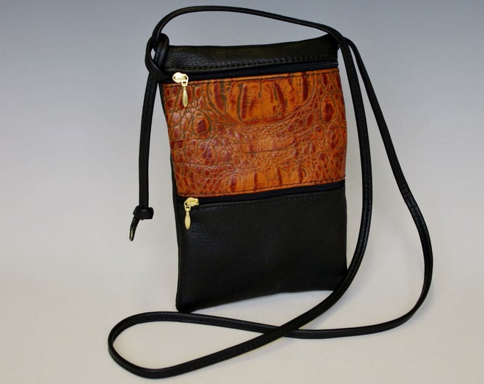 Featured listing image: Passport Bag - black w/ light brown croco accent pictured