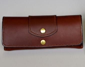Hard leather eyeglass case - Medium Brown