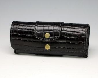 Hard leather eyeglass case -  Alligator embossed cowhide