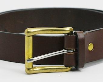 "1 1/2"" medium brown American Bridle leather belt - 1 1/2 solid brass buckle"