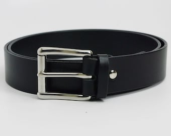 """1 1/4"""" black American Bridle leather belt - 1 1/4 stainless steel buckle"""