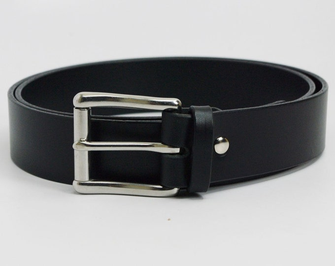 """Featured listing image: 1 1/4"""" black American Bridle leather belt - 1 1/4 stainless steel buckle"""