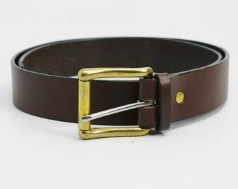 "1 1/4"" medium brown American Bridle leather belt - 1 1/4 solid brass roller buckle"