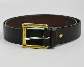 "1 1/4"" dark brown American Bridle leather belt - 1 1/4 solid brass roller buckle"