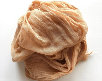 Natural dye cotton gauze scarf in loquat