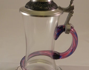 Beautiful Mouth Blown Glass Beer Stein