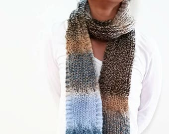 Blue Brown, Black Variegated, Cable Scarf, Something Blue, Ombre Knit Scarf, Long Knit Scarf, Long Scarf, Long Winter Scarf, Rainbow Scarf