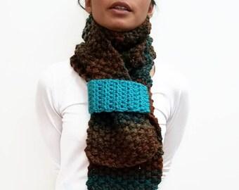 Handknit Scarf, Knit Scarf, Scarf Strap, Knitting Needles, Handknit Neckwarmer, Brown And Blue, Brown Multi, Varigated Yarn, Plushie Scarf