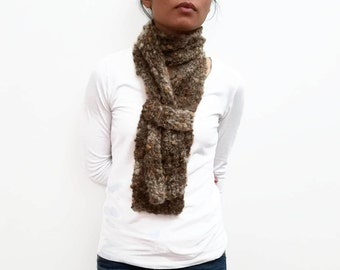 Brown Scarf w Strap, Mohair Yarn , Lace Scarf, Statement Piece, Skinny Scarf, Summer Accessories, Gift Ideas For Women, Fashion Gifts