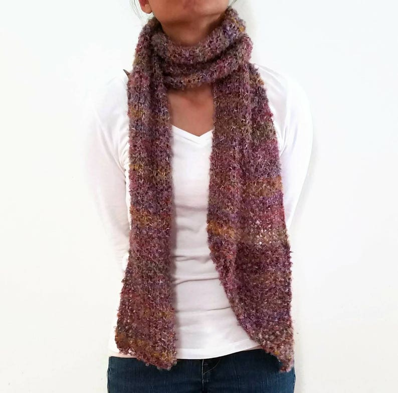 Purple Boucle Knit Point Scarf Pink Specks Mohair Boucle Etsy