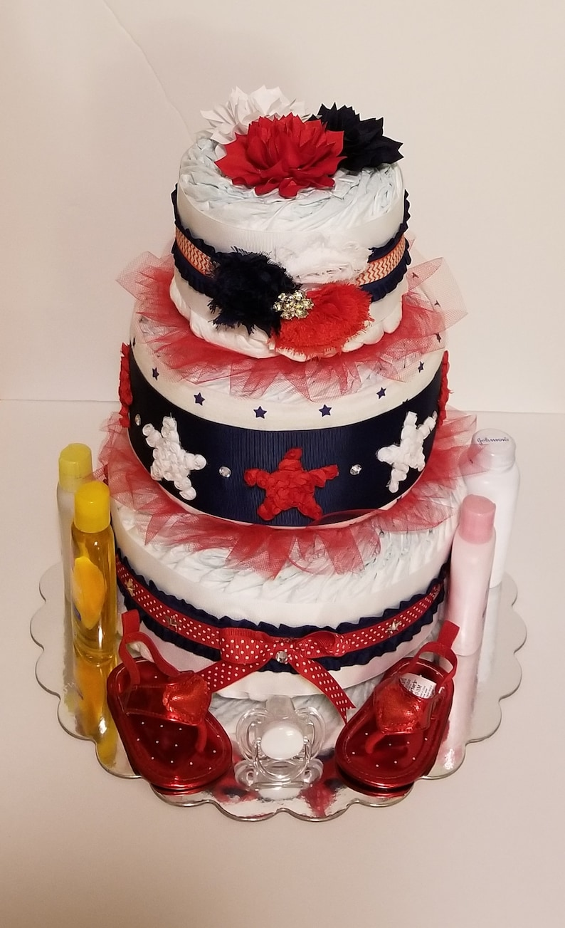 Patriotic Red White And Blue Diaper Cake For Baby Girl Or Etsy