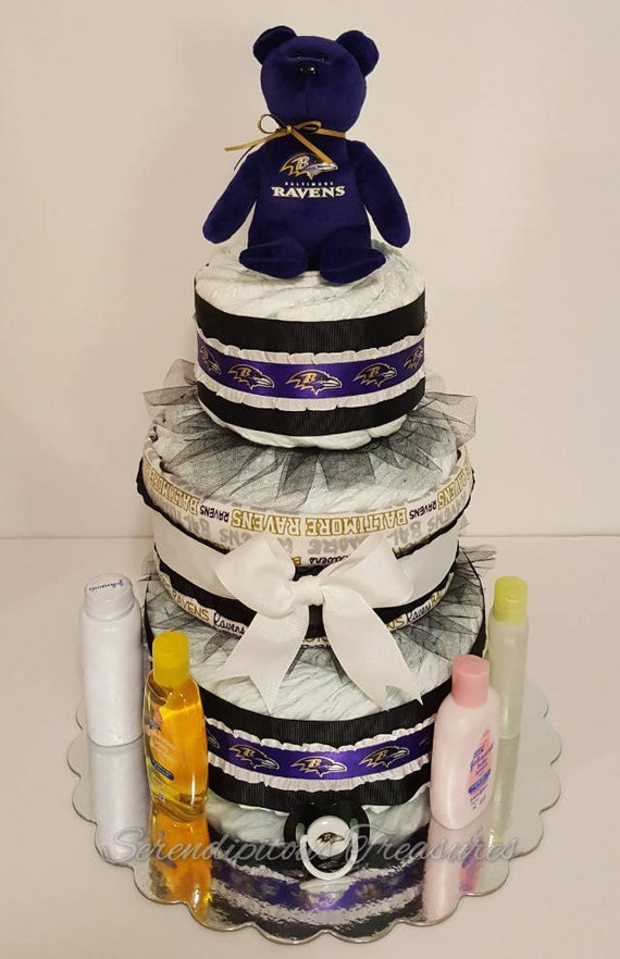 Peachy Baltimore Ravens Themed Diaper Cake Etsy Birthday Cards Printable Opercafe Filternl