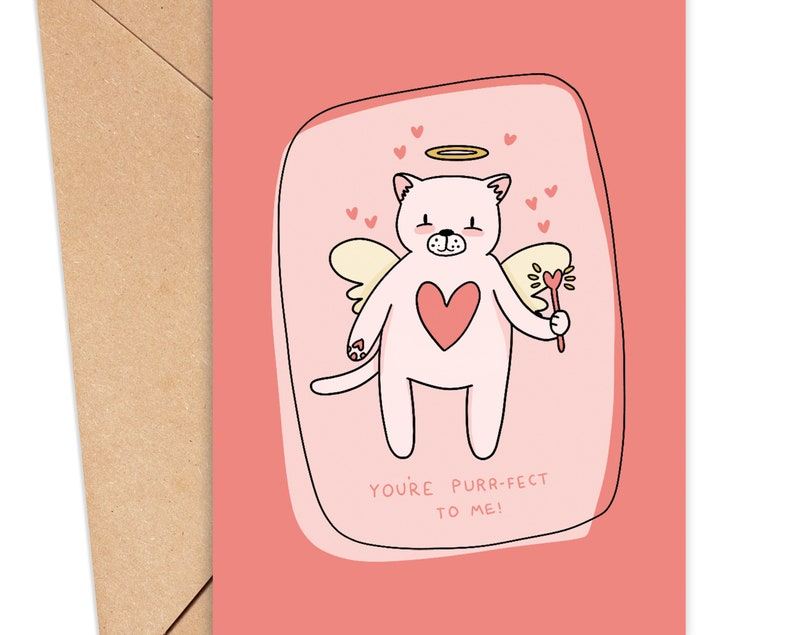 Cute Valentines Day Cat Card -/'You/'re Purr-fect/' Card for Her Card for Her Cat Valentines Card Cute Valentines