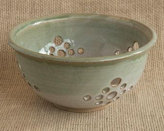 soft celery green and white handmade ceramic berry bowl