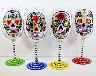 Sugar Skull - Hand Painted Wine Glasses - Sugar Skull Wine Glass - Day of the Dead - Wedding - Dia De Los Muertos - Wedding Gift - Wine Gift