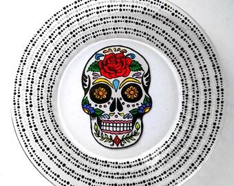 Sugar Skull, Day of the Dead, Dia De Los Muertos, Skull, Kitchen Decor, Plates, Personalized Gift, Wedding Gift, Housewarming Gift,