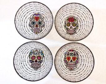 Sugar Skulls Sugar Skull Day of the Dead Dia De Los Muertos Hand Painted Glass Bowl Salad Bowls Cereal Bowls Bowl Set Dinnerware  sc 1 st  Etsy & Skull dinnerware | Etsy