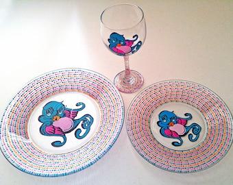 Pretty Dinnerware, Feminine Dinnerware, Retro, Bird Plates, Bird Dinnerware, Pink Dinnerware, Hand Painted Glassware, Bluebird, Dining Set,
