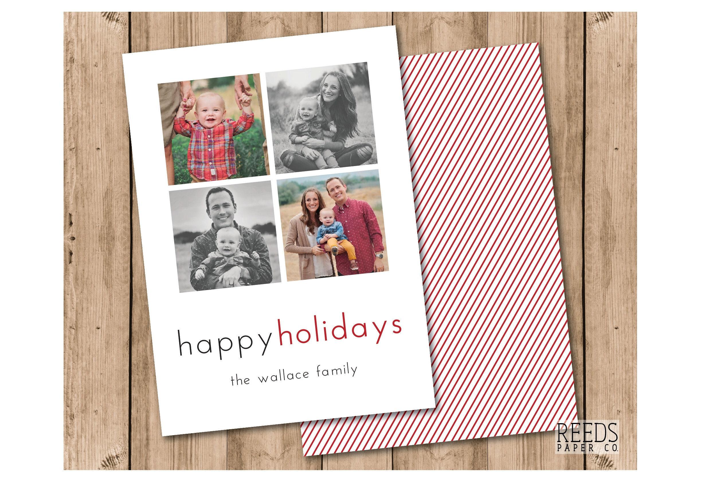 Photo Christmas Card: 5x7 Custom Holiday Card New Year Simple ...