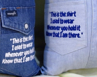Memory Pillow with or without poem made to order. Memories made from your supplied clothing. FREE SHIPPING!