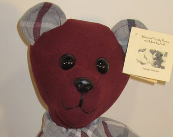 Memory Bear 17 inch - fully jointed. Handmade Memory Bear gift. FREE SHIPPING and Personalization,