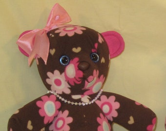 Memory Teddy Bear 12 inch seated. FREE Personalization on the feet. FREE SHIPPING! Make a memory with a teddy bear.