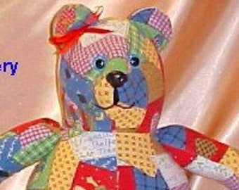 16 inch Memory Bears made from your supplied clothing (FREE Personalization on the feet)  FREE SHIPPING! Keepsake memory bear.