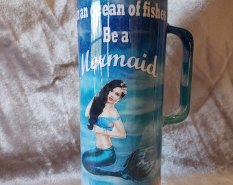 30 oz. Stainless Steel Mermaid Tumbler with handle and straw. FREE shipping and Free personalization.