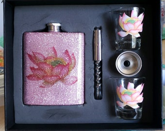 7 oz. Stainless Steel flask set Gift Boxed with 2 shot glasses, funnel, bottle opener corkscrew. FREE personalization!