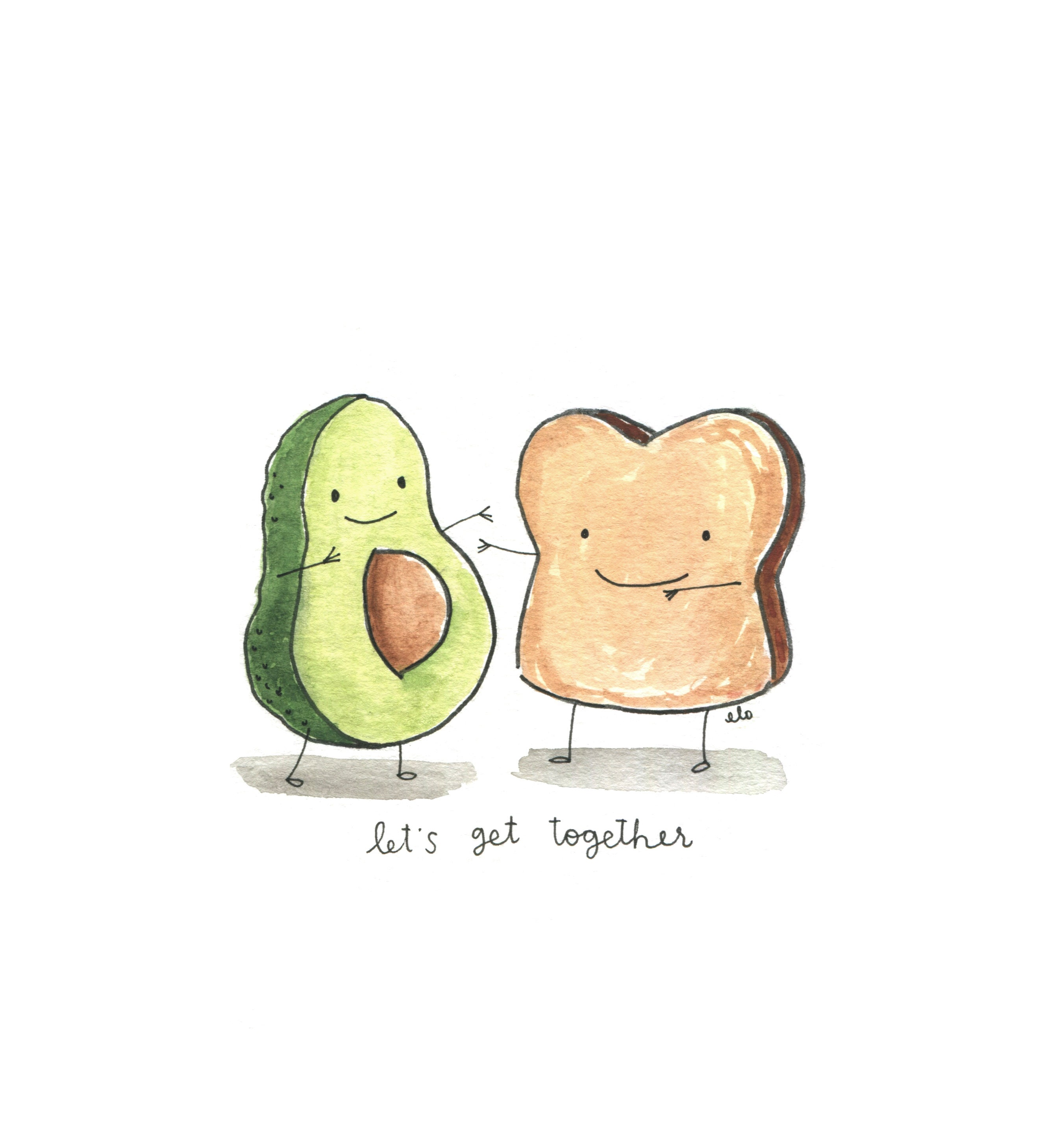 Avocado Toast/Doodle/Art/Cute/Illustration/watercolor/hand | Etsy