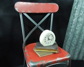 Vintage Child Sized Red Metal Chair - Prop Doll Display - Riser Stand for Plant - Industrial BoHo Decor