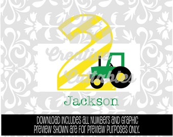 SVG Birthday Tractor with Striped Numbers for  Silhouette or other craft cutters (.svg/.dxf/.eps)