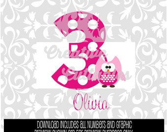 Birthday Owl with Polka Dot Numbers for  Silhouette or other craft cutters (.svg/.dxf/.eps)