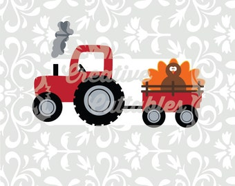SVG Thanksgiving Turkey Tractor designs for  Silhouette or other craft cutters (.svg/.dxf/.eps)