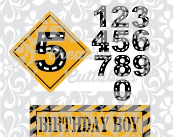 Birthday SVG Construction with Road Numbers for  Silhouette or other craft cutters (.svg/.dxf/.eps)