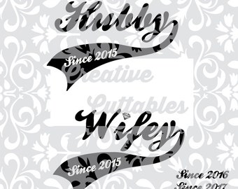 Wedding Titles Sports Jersey look  Hubby Wifey for Monogramming for use with Silhouette or other craft cutters (.svg/.dxf/.eps)