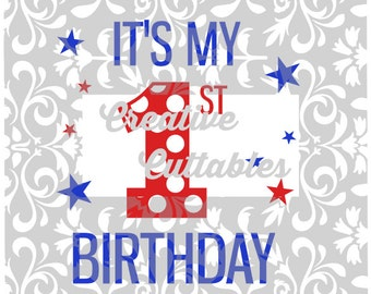 1st Birthday with Polka Dots for  Silhouette or other craft cutters (.svg/.dxf/.eps)