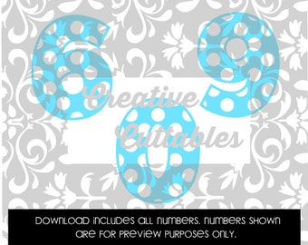 Polka Dot Numbers for  Silhouette or other craft cutters (.svg/.dxf/.eps)