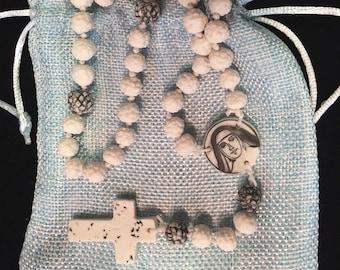 Saint Marianne Cope of Molokai porcelain rosary commemorating Hawaii's second saint. Beautiful, unique and 100% handmade on Maui.