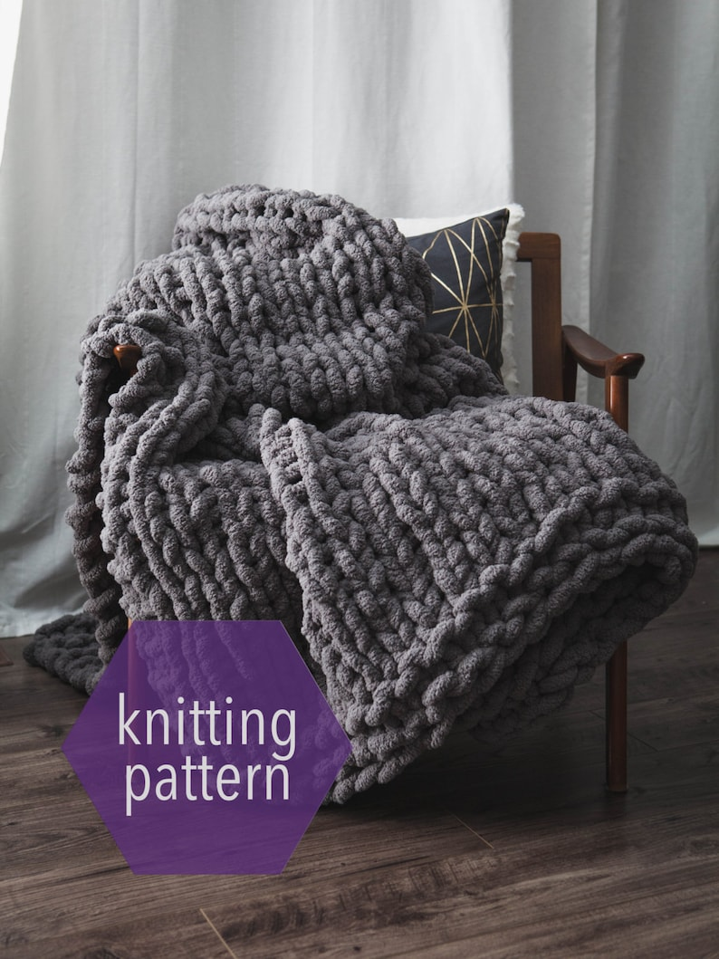 Huge Chunky Knit Blanket Knitting Pattern Instant image 0