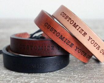 Women's leather bracelet- Customized -Personalized -gift for women- Boho Leather Bracelet - Bracelet - Leather Bracelet- Leather Cuff
