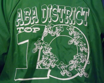dcb2b49a94 Green ABA BMX vintage 1994 District Top 10 jacket size small - old school