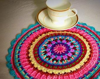 Crochet Placemat Pattern , Colorful Crochet Pattern