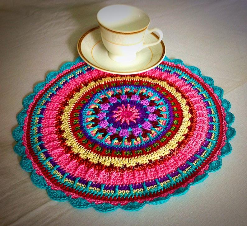 Crochet Placemat Pattern  Colorful Crochet Pattern image 0